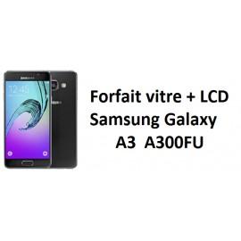 Forfait remplacement vitre + LCD Samsung A3 A300FU noir, blanc, or, argent