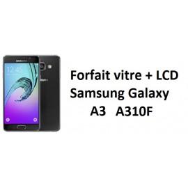 Forfait remplacement vitre + LCD Samsung A3 A310F noir ou blanc