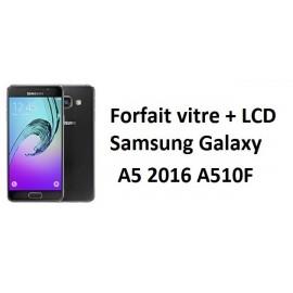 Forfait remplacement vitre + LCD Samsung A5 2016 A510F noir ou blanc